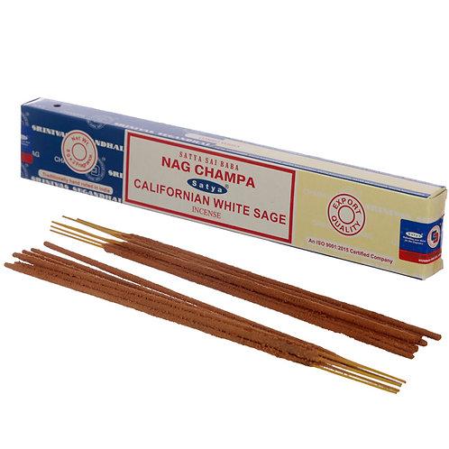 Satya Incense Sticks - Nag Champa & Californian White Sage Novelty Gift
