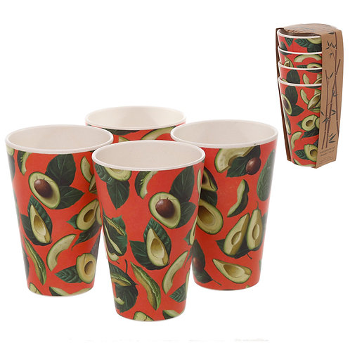 Bamboo Composite Avocado Set of 4 Cups Novelty Gift