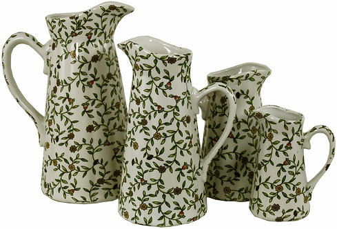 Set of 4 Ceramic Jugs, Green And White Floral Design Shipping furniture UK