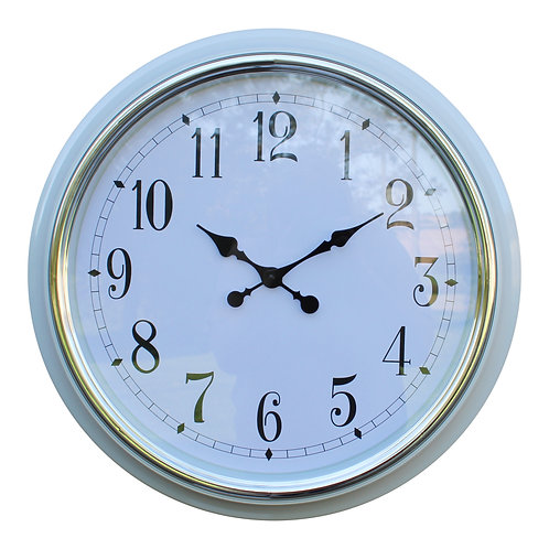 Large Silver Rimmed Wall Clock, White, 56cm. Shipping furniture UK