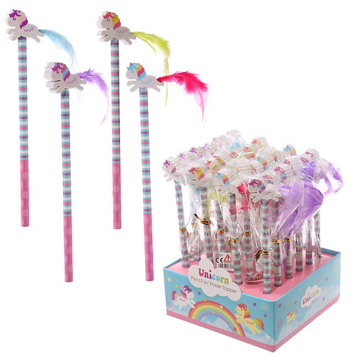 Cute Unicorn Design Pencil and Eraser Set Novelty Gift [Pack of 2]