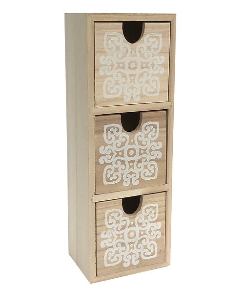 Natural Wooden Cabinet With Three Mandala Design Drawers Shipping furniture UK