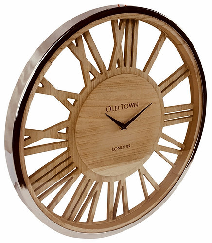 Wooden Clock With Glass Cover 48cm Shipping furniture UK