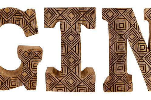 Hand Carved Wooden Geometric Letters Gin Shipping furniture UK