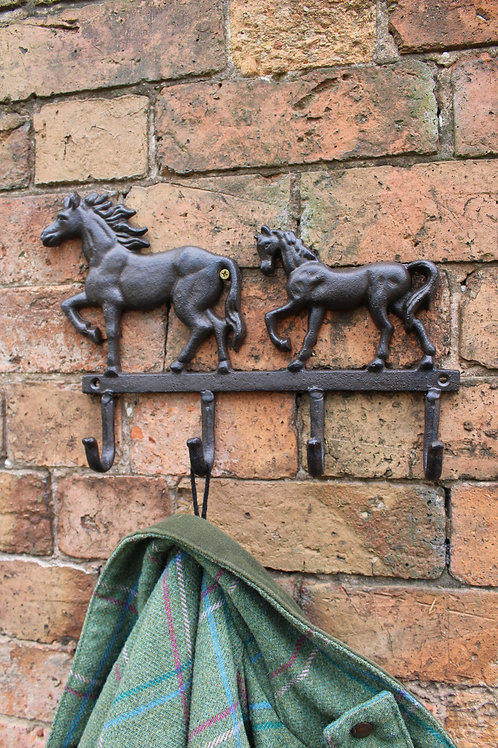 Rustic Cast Iron Wall Hooks, Two Horses Shipping furniture UK