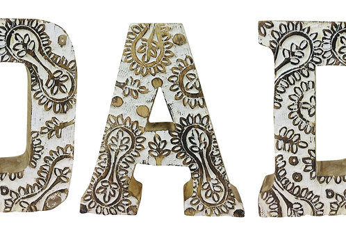 Hand Carved Wooden White Flower Letters Dad Shipping furniture UK