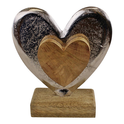 Metal and Wood Standing Heart Decoration Shipping furniture UK