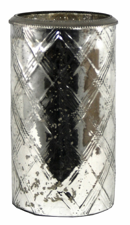 Glass Flower Vase With Metal Ring Silver Shipping furniture UK