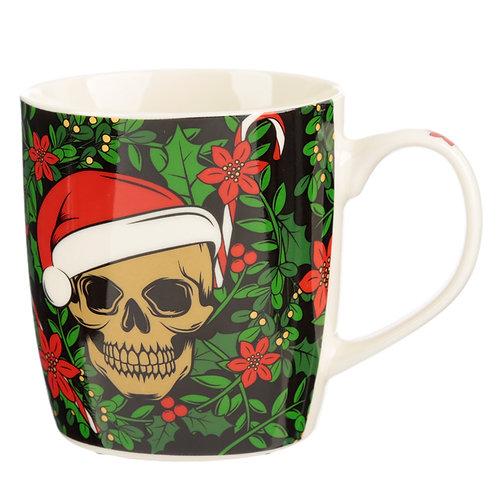 Christmas Porcelain Mug - Santa Bones Skull Novelty Gift