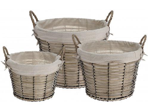 Set of 3 Lined Round Baskets Shipping furniture UK
