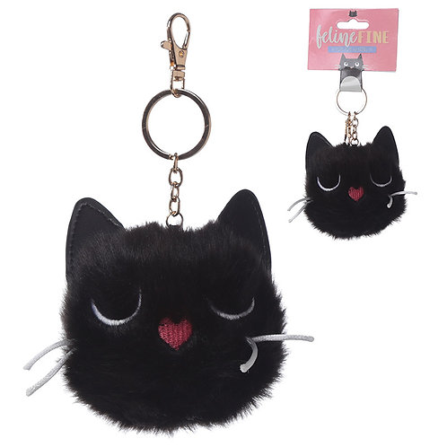 Fun Collectable Pom Pom Keyring - Black Cat Novelty Gift
