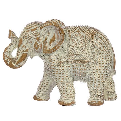 Decorative Thai Brushed White and Gold Medium Elephant Novelty Gift