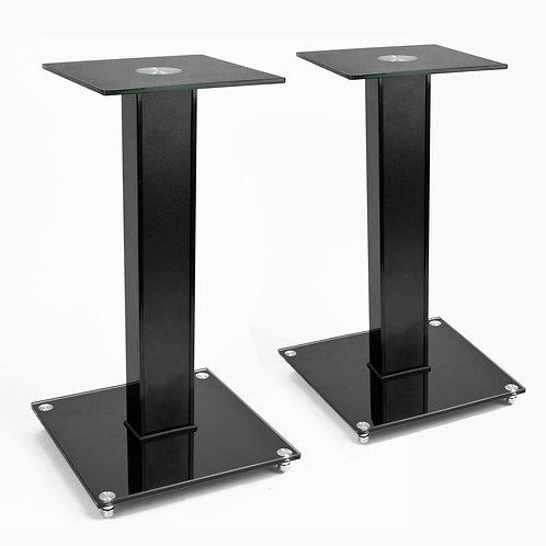 2x Black Glass Speaker Stands | Home Essentials UK