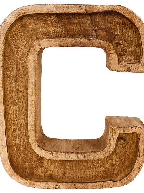 Hand Carved Wooden Embossed Letter C Shipping furniture UK