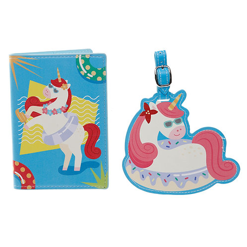 Fun Vacation Vibes Unicorn Luggage Tag and Passport Cover Set Novelty Gift