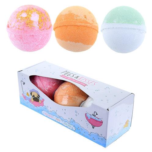 Handmade Pug  Bath Bomb Set of 3 - Fruity Scents Novelty Gift