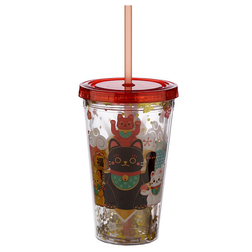 Lucky Cat Maneki Neko Double Walled Reusable Cup with Lid and Straw Novelty Gift
