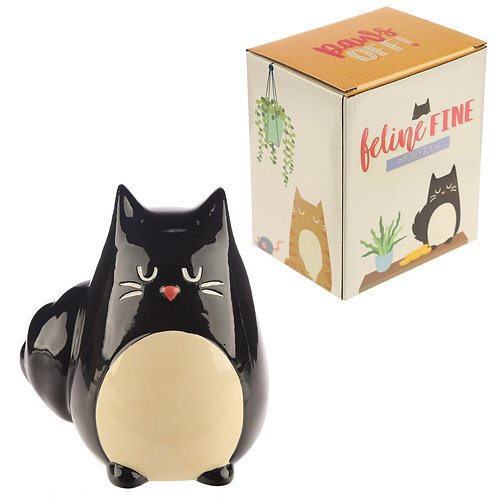 Collectable Ceramic Black Cat Shaped Money Box Novelty Gift