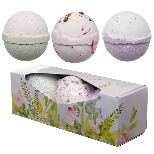 Handmade Bath Bomb Set of 3 - Botanical Fragrances in Gift Box Novelty Gift