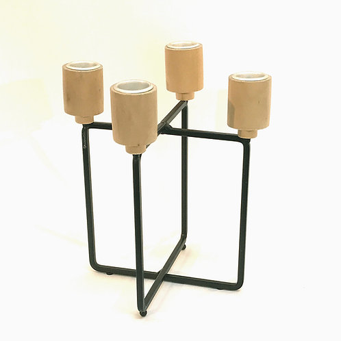 Wood And Black Metal 4 Candle Holder Shipping furniture UK