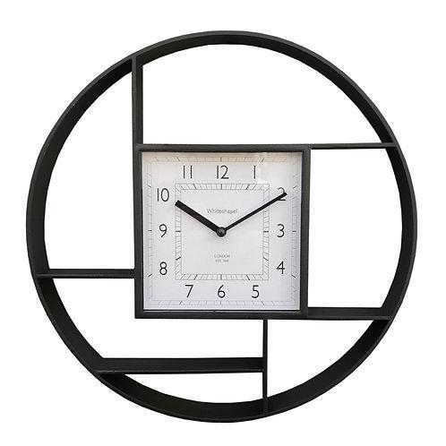 Black Plastic Wall Hanging Shelf Unit With Clock Shipping furniture UK
