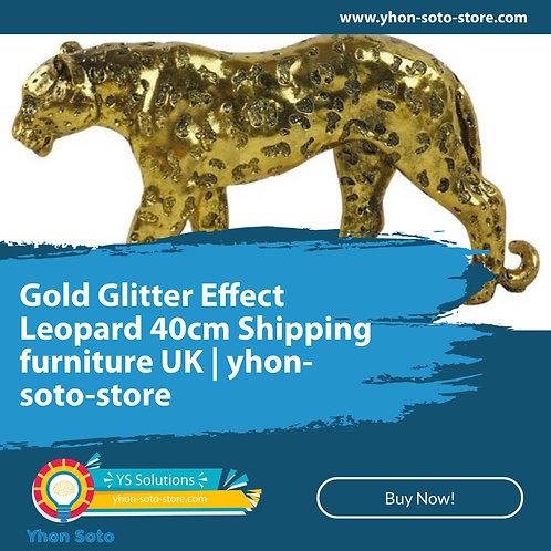 Gold Glitter Effect Leopard 40cm Shipping furniture UK