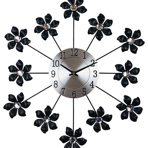 Black Metal Flower Wall Clock 49cm Shipping furniture UK