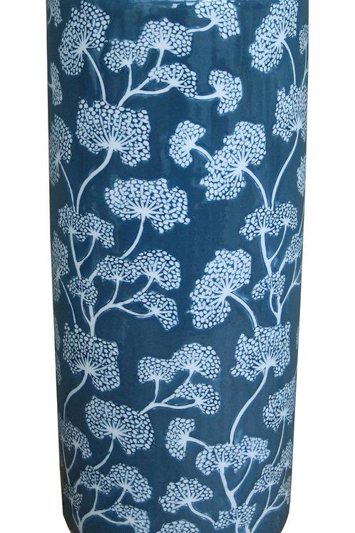 Ceramic Embossed Umbrella Stand, Blue/White Floral Design Shipping furniture UK