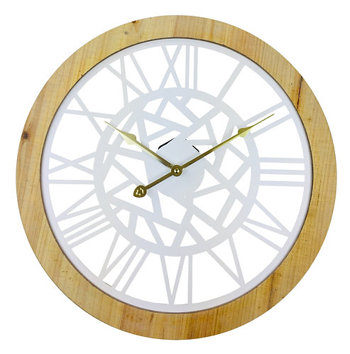 Roman Numeral White Metal Cut Out Wall Clock 45cm Shipping furniture UK