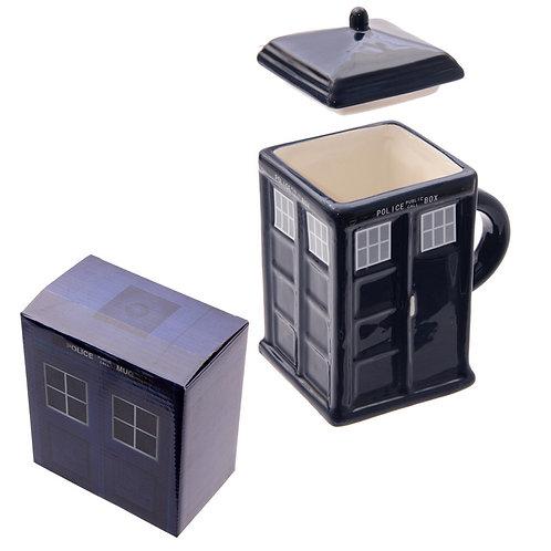 Novelty Ceramic Police Box Square Mug with Lid Novelty Gift