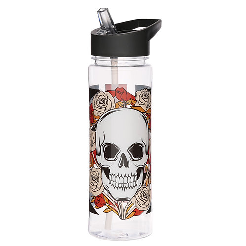 Reusable Skulls and Roses Union Jack 550ml Water Bottle Novelty Gift
