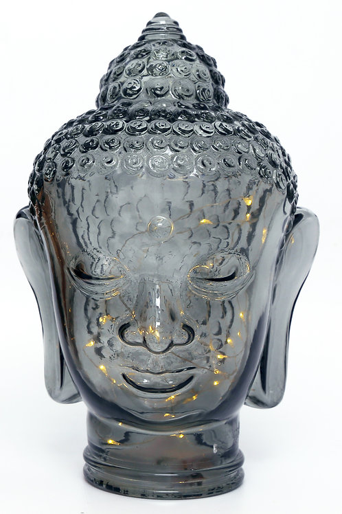 Buddha Head Ornament with LED Silver Shipping furniture UK