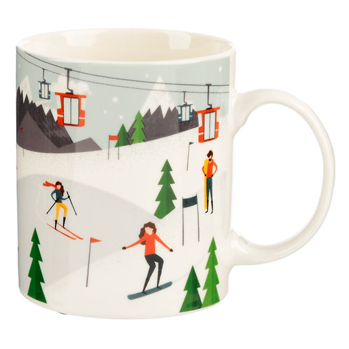 Collectable Porcelain Mug - Peak Season Ski Design Novelty Gift