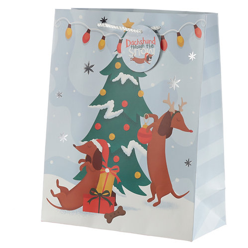 Dachshund Through the Snow Large Christmas Gift Bag Novelty Gift