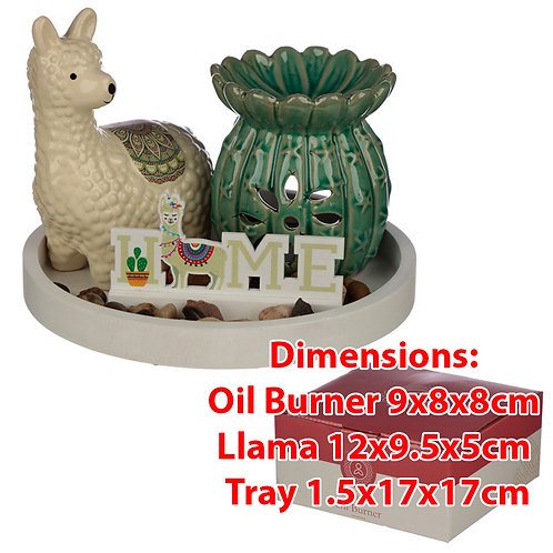 Novelty Cactus Oil Burner & Llama Ceramic Figurine Gift Set
