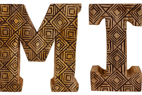 Hand Carved Wooden Geometric Letters Family Shipping furniture UK