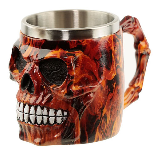 Collectable Decorative Dark Flames Marble Skull Tankard Novelty Gift