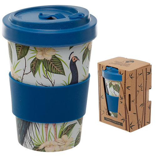 Bamboo Composite Peacock Screw Top Travel Mug Novelty Gift