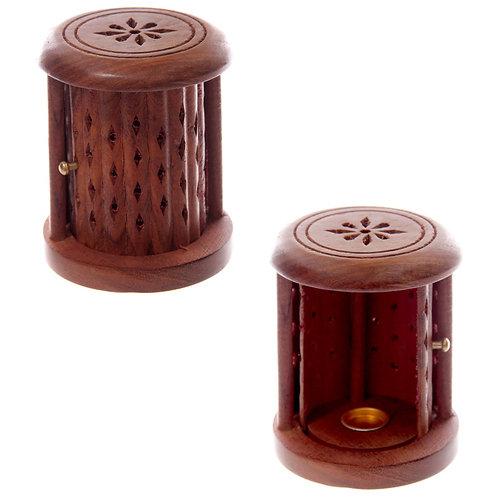 Carved Sheesham Wood Incense Holder with Sliding Door Novelty Gift