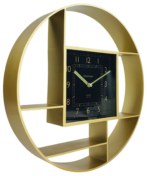 Gold Shelf Unit With Clock 35cm Shipping furniture UK