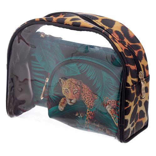 Big Cat Spots and Stripes Vanity Bag Set of 3 Novelty Gift
