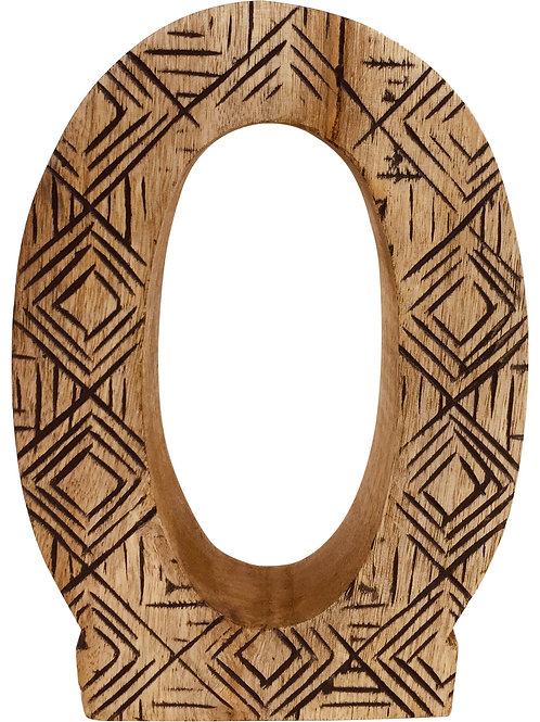 Hand Carved Wooden Geometric Letter O Shipping furniture UK
