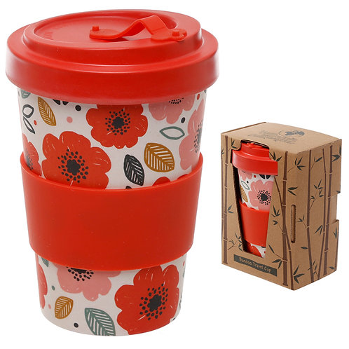 Bamboo Composite Poppy Fields Screw Top Travel Mug Novelty Gift