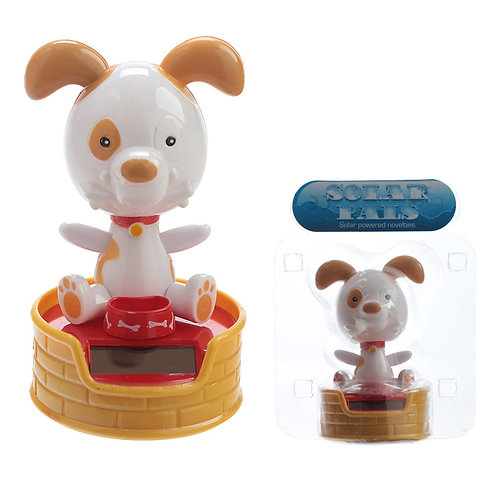 Novelty Gift Collectable Dog with Bowl Solar Powered Pal
