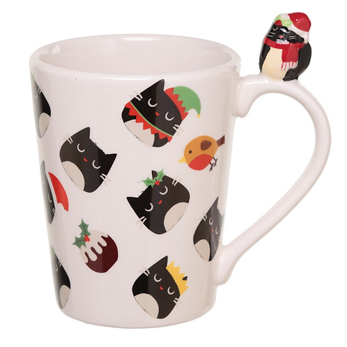 Festive Feline Cat on Handle Christmas Ceramic Mug Novelty Gift