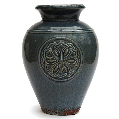 Blue Embossed Vase Shipping furniture UK