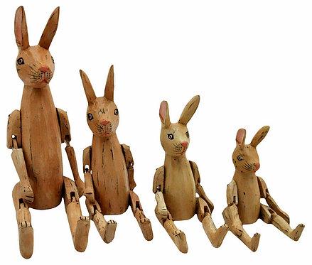 Set Of 4 Antique Light Brown Rabbits Shipping furniture UK