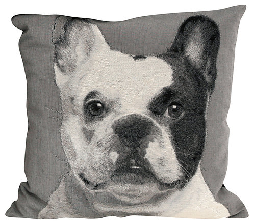 Monochrome Dog Cushion - French Bulldog Shipping furniture UK