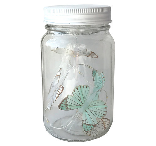 Butterfly Led Light Chain In Glass Jam Jar - Blue Shipping furniture UK