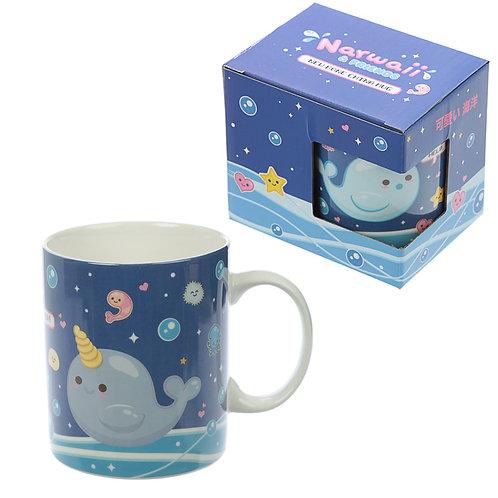 Collectable Porcelain Mug - Narwaii & Friends Narwhal Design Novelty Gift